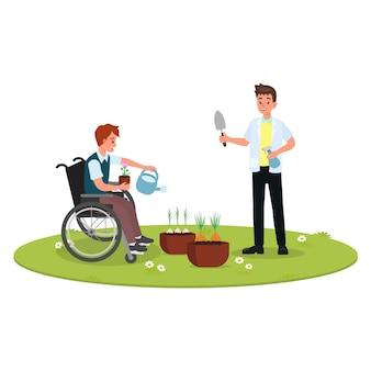 Ergotherapie in revalidatiesessie voor gehandicapten.
