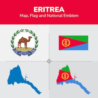Eritrea kaart, vlag en nationale embleem
