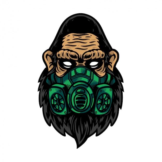 Ernstig van gorillahoofd dat groen masker gebruikt
