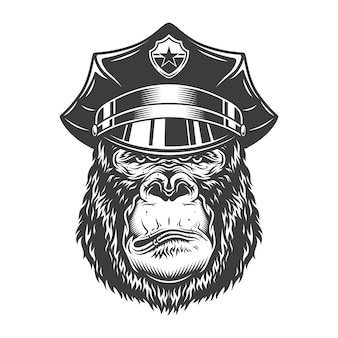 Ernstige gorilla in zwart-wit stijl