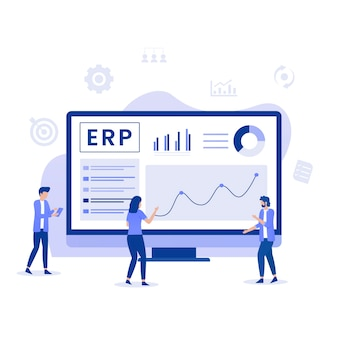 Erp enterprise resource planning illustratie concept