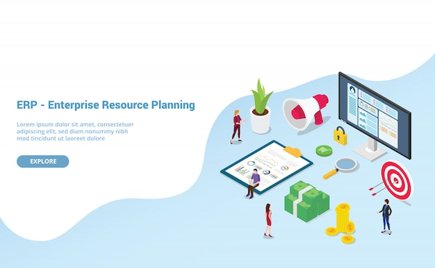 Erp enterprise resource planning met teammensen en activabedrijf