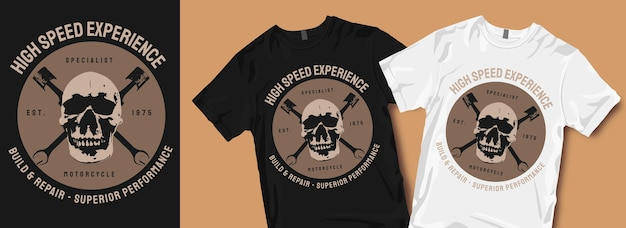 Ervaar motorfiets-t-shirtontwerpen met hoge snelheid