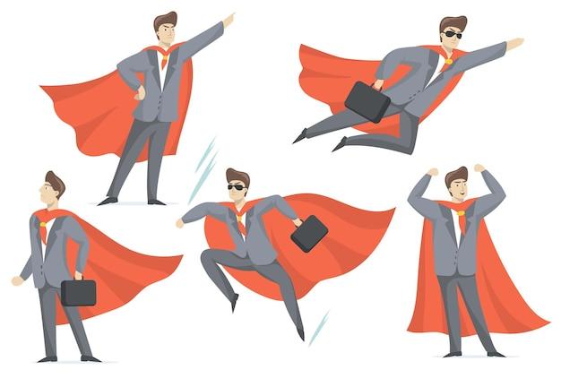 Ervaren zakenman in superheld kostuum platte set voor webdesign.