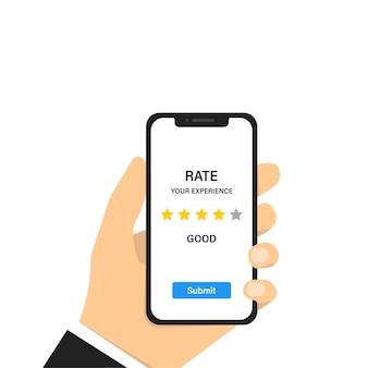 Ervaring met feedback over beoordelingen. klantbeoordeling. dienst concept. klantenservice.