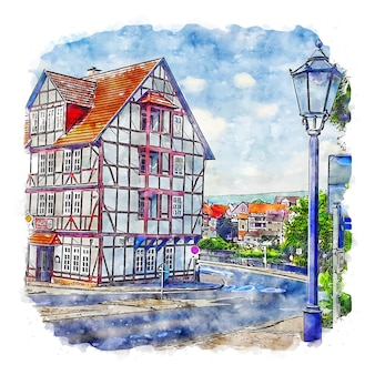 Eschwege duitsland aquarel schets hand getekende illustratie