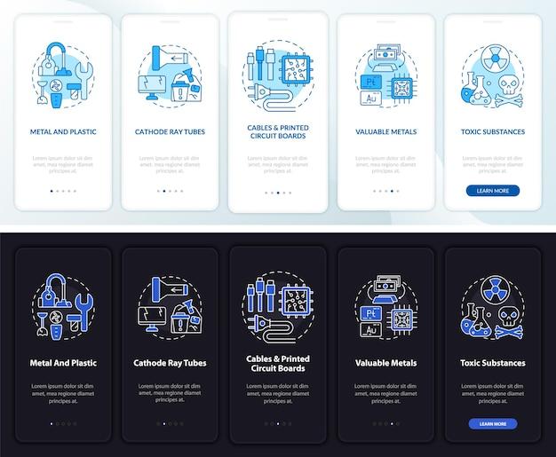 Escrap onderdelen onboarding mobiele app paginascherm met concepten