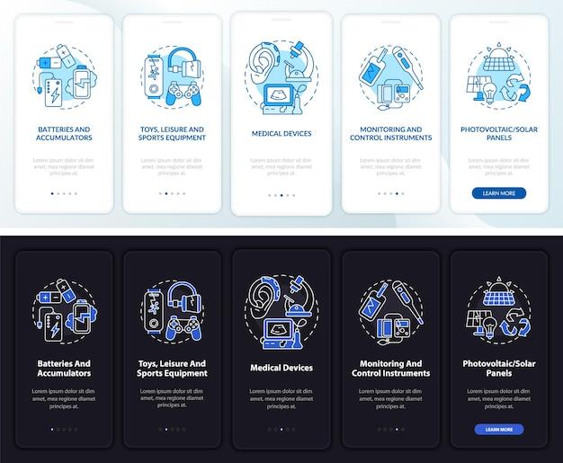 Escrap-typen onboarding-paginascherm voor mobiele apps met concepten