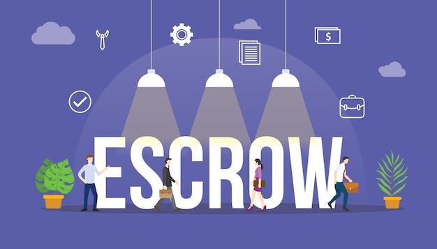 Escrow-accountconcept met mensen en aanverwant pictogram met moderne vlakke stijlvector