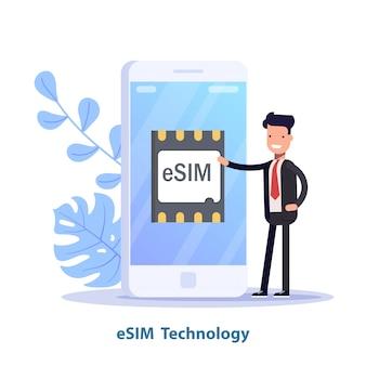 Esim kaartchip teken. ingebed sim-concept. nieuwe mobiele communicatietechnologie