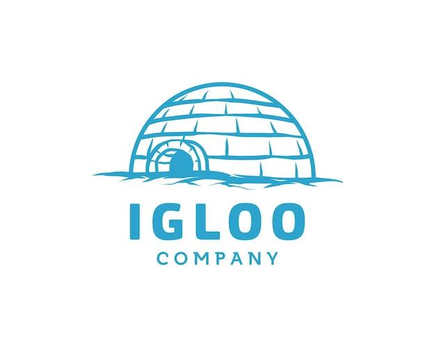 Eskimo igloo ice house globe voor global freeze ice logo ontwerpsjabloon