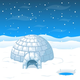 Eskimo koud huis van ijsblokken op antarctica. koepelhuis voor winterweer en noordhuis tegen kou
