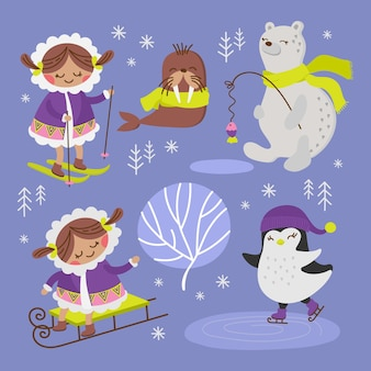 Eskimo walrus alaska winter cartoon comic funny animal flat design holiday hand getrokken illustratie