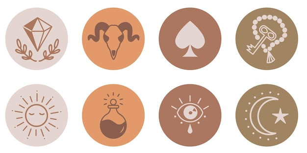 Esoterische boho social media verhalen icons set minimalistische hoogtepunt covers crystal sun key poison koe schedel maan eye schoppen handgetekende astrologie logo vectorillustratie geïsoleerd op wit