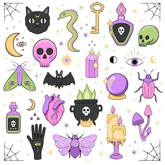 Esoterische elementen dieren en objecten