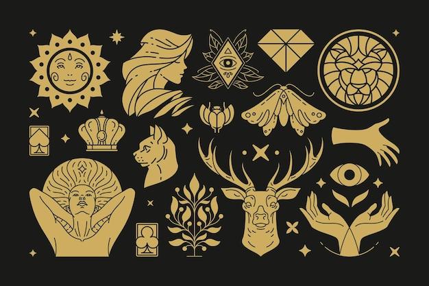 Esoterische magie en heks ontwerpelementen instellen met gebaren van vrouwelijke handen