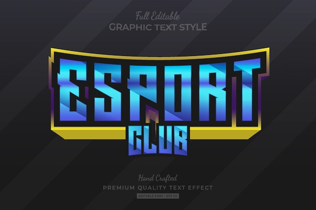 Esport club bewerkbare premium teksteffect lettertypestijl