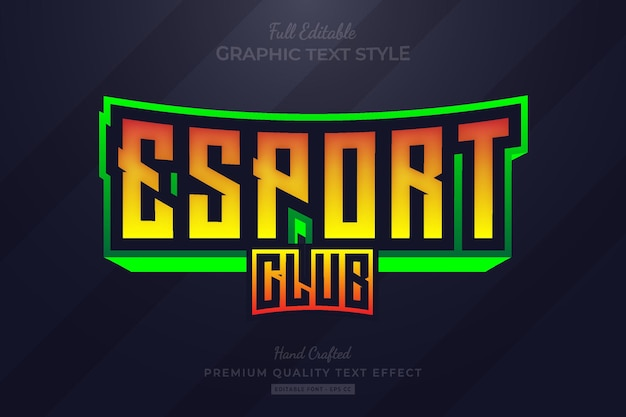 Esport club gaming team bewerkbare premium teksteffect lettertypestijl