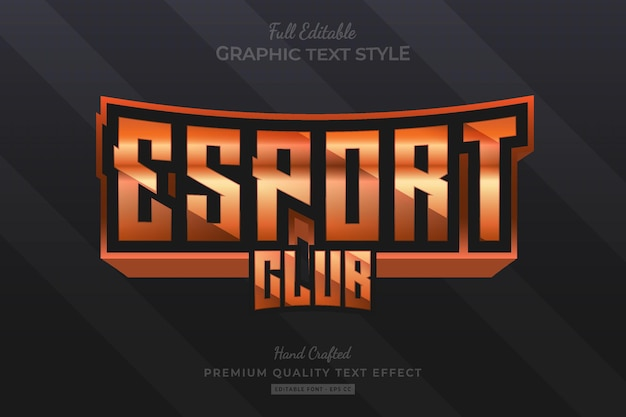 Esport club orange bewerkbare premium teksteffect lettertypestijl
