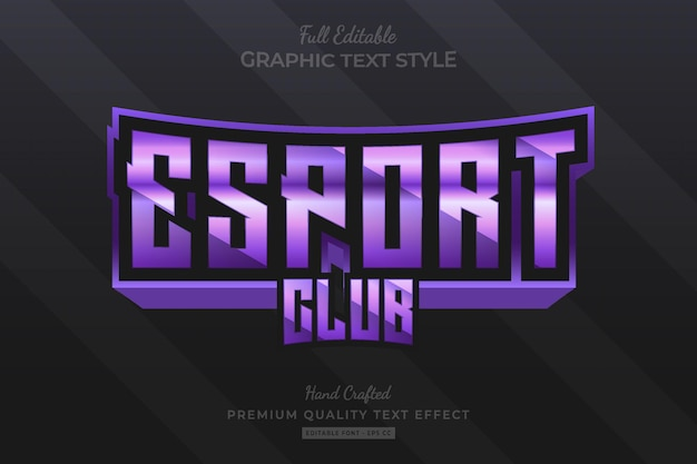 Esport club purple bewerkbare premium teksteffect lettertypestijl