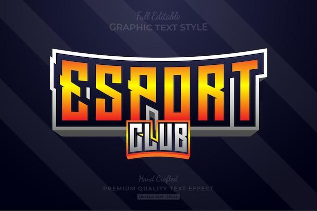 Esport club team bewerkbare premium teksteffect lettertypestijl