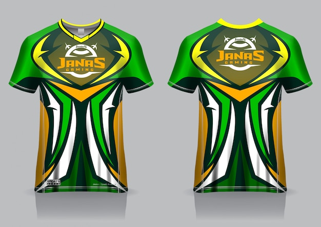 Esport gaming t-shirt jersey sjabloon, uniform, voor- en achteraanzicht