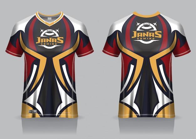 Esport gaming t-shirt jersey sjabloon, uniform, voor- en achteraanzicht