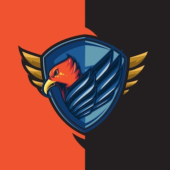 Esport-gaminglogo met het thema van de blauwvleugelige rode adelaar. met schildverdediging