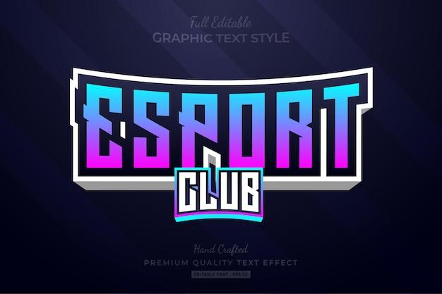 Esport gradient gaming team bewerkbare teksteffect lettertypestijl