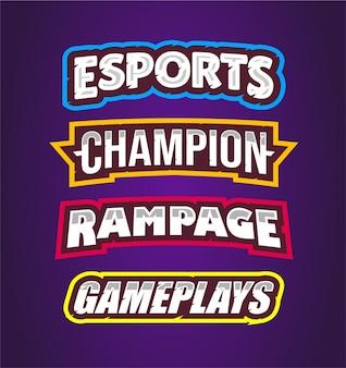 Esport, kampioen, rampage, gameplays met teksteffect