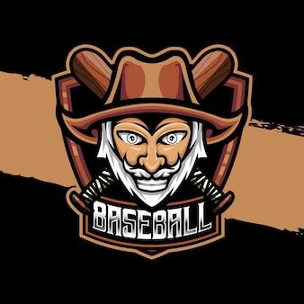 Esport logo cowboy honkbal karakter pictogram karakter pictogram