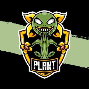 Esport logo illustratie monster plant karakter icoon