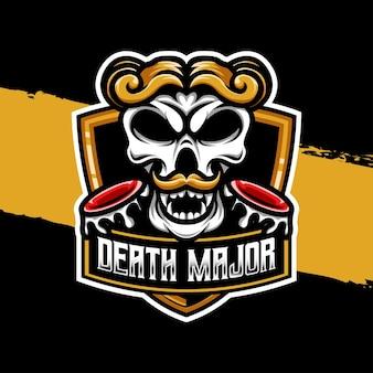 Esport logo illustratie schedel dood hoofdpersonage icoon