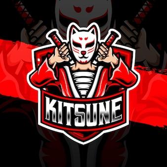 Esport logo kitsune karakter icoon