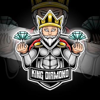 Esport logo koning diamant karakter icoon