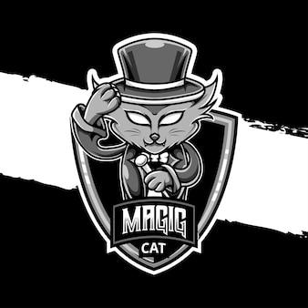 Esport logo magische kat karakter icoon