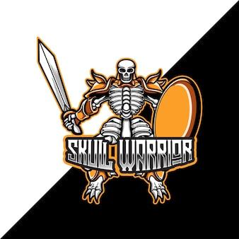 Esport-logo met de mascotte van de schedelstrijder