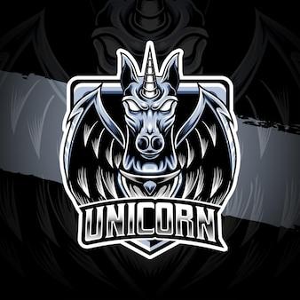 Esport-logo met eenhoornkarakterpictogram