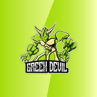Esport-logo met groen duivelsmascotte-karakter