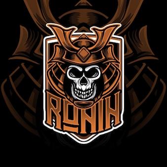 Esport-logo met hoofd ronin caracter-pictogram