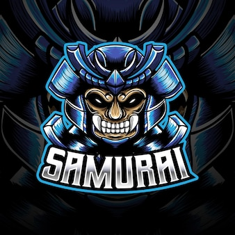 Esport-logo met hoofd samurai-karakter