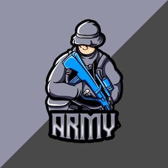 Esport-logo met legermascotte
