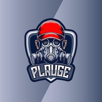Esport-logo met masker plauge mascotte karakter Premium Vector