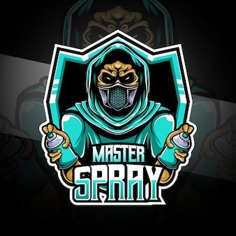Esport-logo met master-spray-karakter