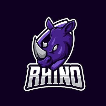 Esport-logo met sterke paarse neushoorn