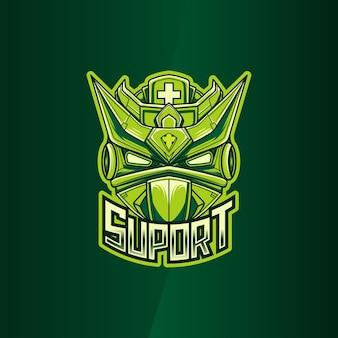 Esport-logo met suport robot illustratie karakter pictogram
