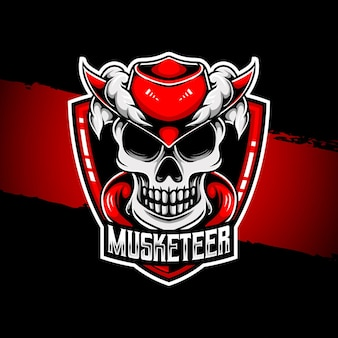 Esport logo musketier karakter icoon