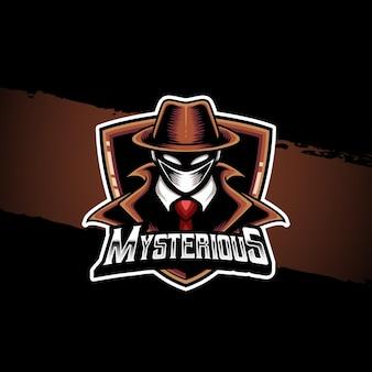 Esport logo mysterieuze kerel karakter icoon