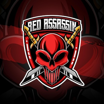 Esport logo rood moordenaar karakter icoon