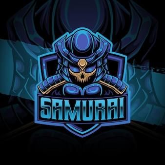 Esport logo samurai karakter icoon
